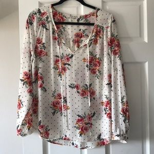 Tops - Floral and polka dot blouse